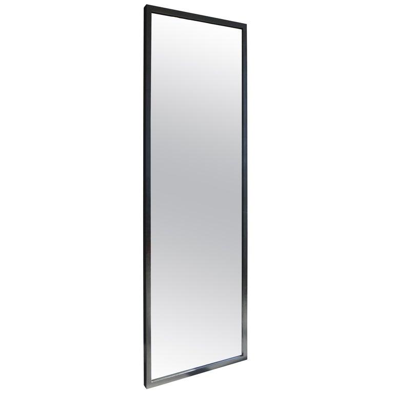 Hansha Mirror Modern Burnt Ash and Blackened Patinated Steel Mirror