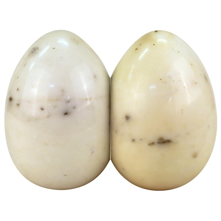 Mid-Century Modern Marble Egg-Shaped Bookends