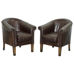 Pair of Tetrad Buster Thick Brown Leather Tub Club Armchairs Sold in John Lewis