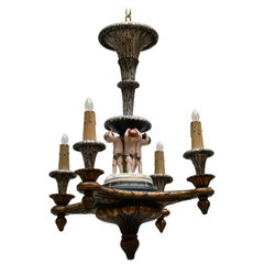 Italian Hand-Carved Chandelier with Porcelain Putti