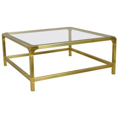 Hollywood Regency Brass and Glass Coffee Cocktail Table by Mastercraft