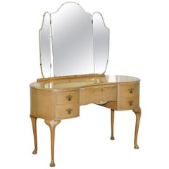 Art Deco Walnut Works London Satin Walnut Dressing Table Part of Suite Wardrobes