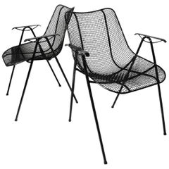 Set of Six Mid-Century Modern Sculptura Outdoor Dining Chairs by Russell Woodard