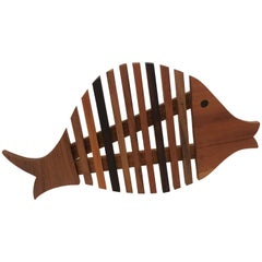 Mix Wood Whimsical Mid-Century Modern Fish Trivet
