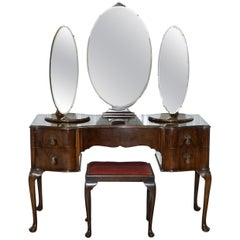 Stunning Edwardian Mahogany Dressing Table with Swivel Side Mirrors and Stool