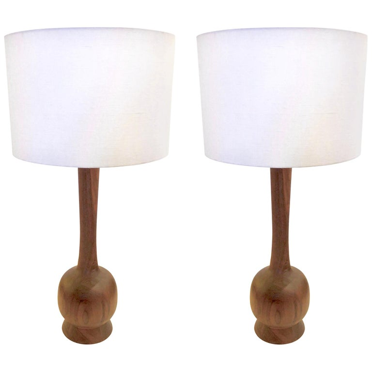 American Midcentury Solid Walnut Pair of Tall Lamps For Sale