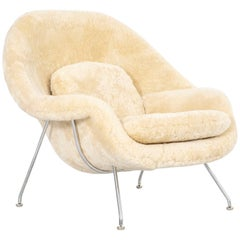 Mid-Century Modern Eero Saarinen for Knoll Womb Chair Reupholstered in Shearling