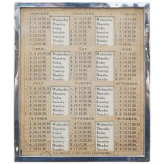 Medium 1929 Sterling Silver Asprey London Year to View Desk Art Calendar Leather