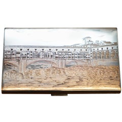 Rare Solid Silver Giovannoni Signed Cigarette Case with Italian Scene Engraved