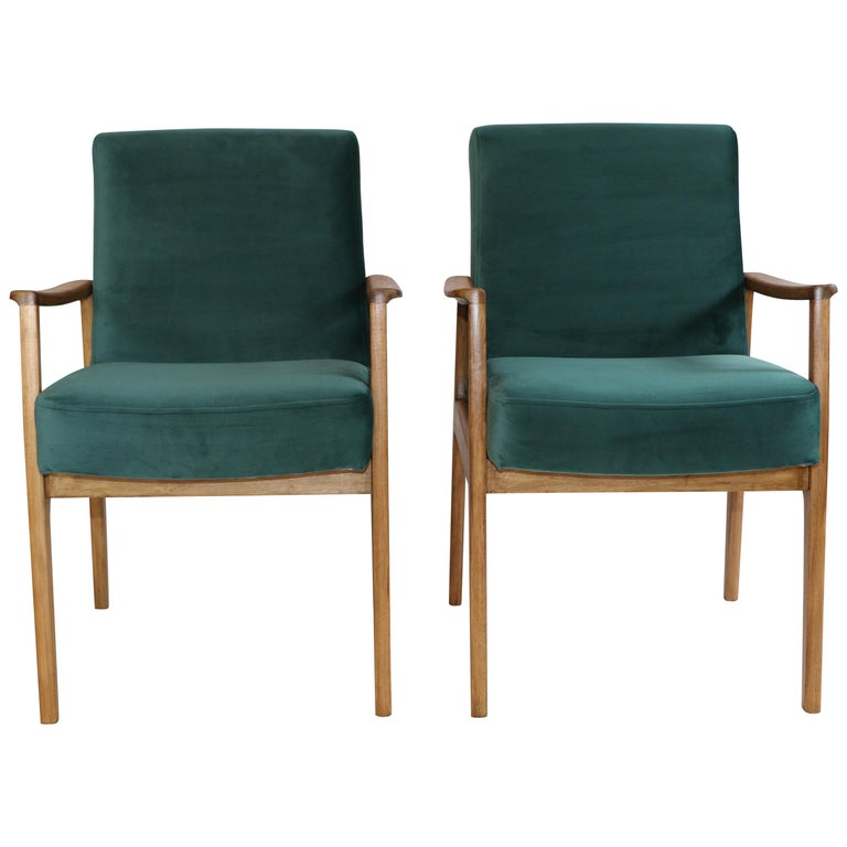 Pair of Chairs in Green Velvet from 20th Century