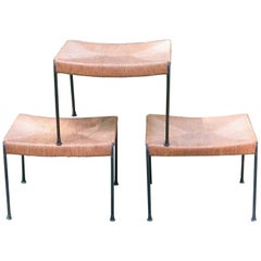 Rush and Iron Seat Stools Arthur Umanoff, 1950s