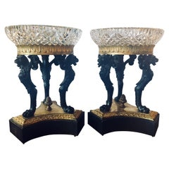 Pair of Empire Figural Tazzas / Compotes Doré and Patinated with Cavan Crystal