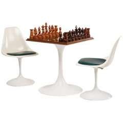 Saarinen Style Tulip Table and Chairs Ebony Chess Set