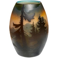 Muller Frères Luneville French Cameo Mountain Landscape Vase