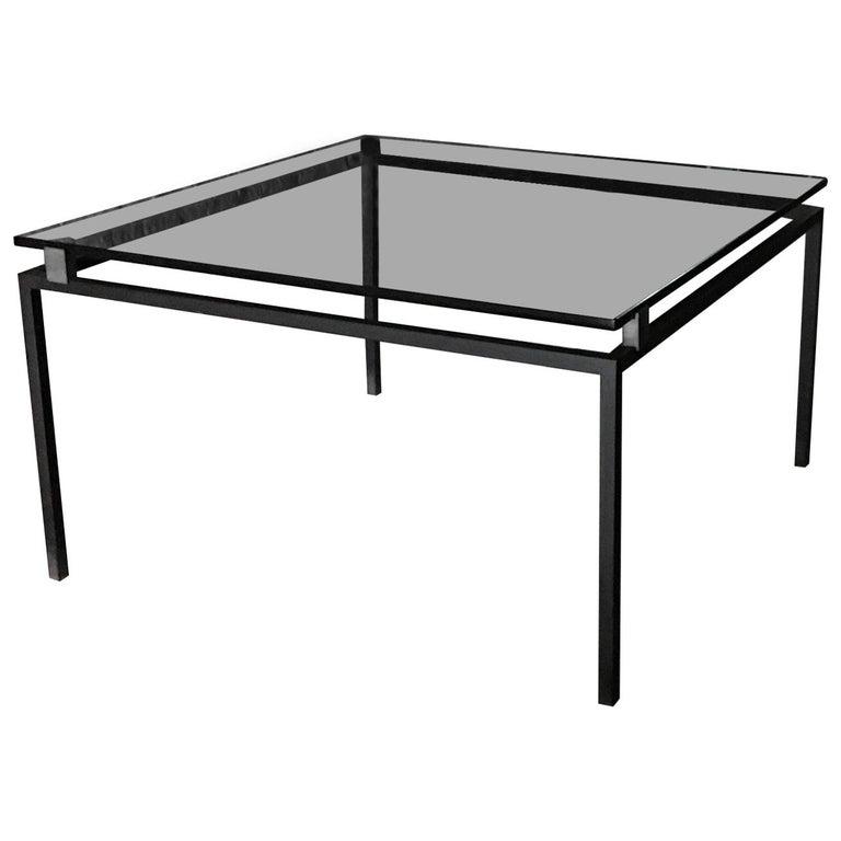 Fontana Arte Living Room Table Iron Brass Grav Crystal Model 2002A, 1960