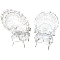 Gorgeous Pair of Salterini Style Wrought Iron Fan Back Peacock Patio Chairs