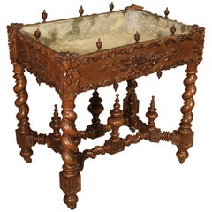Fantastic 19th Century Walnut Wood Table and Jardiniere