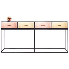 Contemporary Norse Console Table or Credenza in Black with Brass