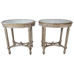French Louis XVI Style Oval Gold Leaf Tables with Mirrored Tops