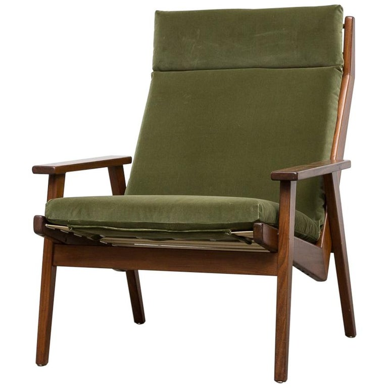 Robert Parry Olive Velvet Lounge Chair For Sale
