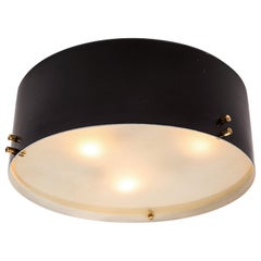 1960s Italian Black and Glass Flush Mount in the Manner of Bruno Gatta