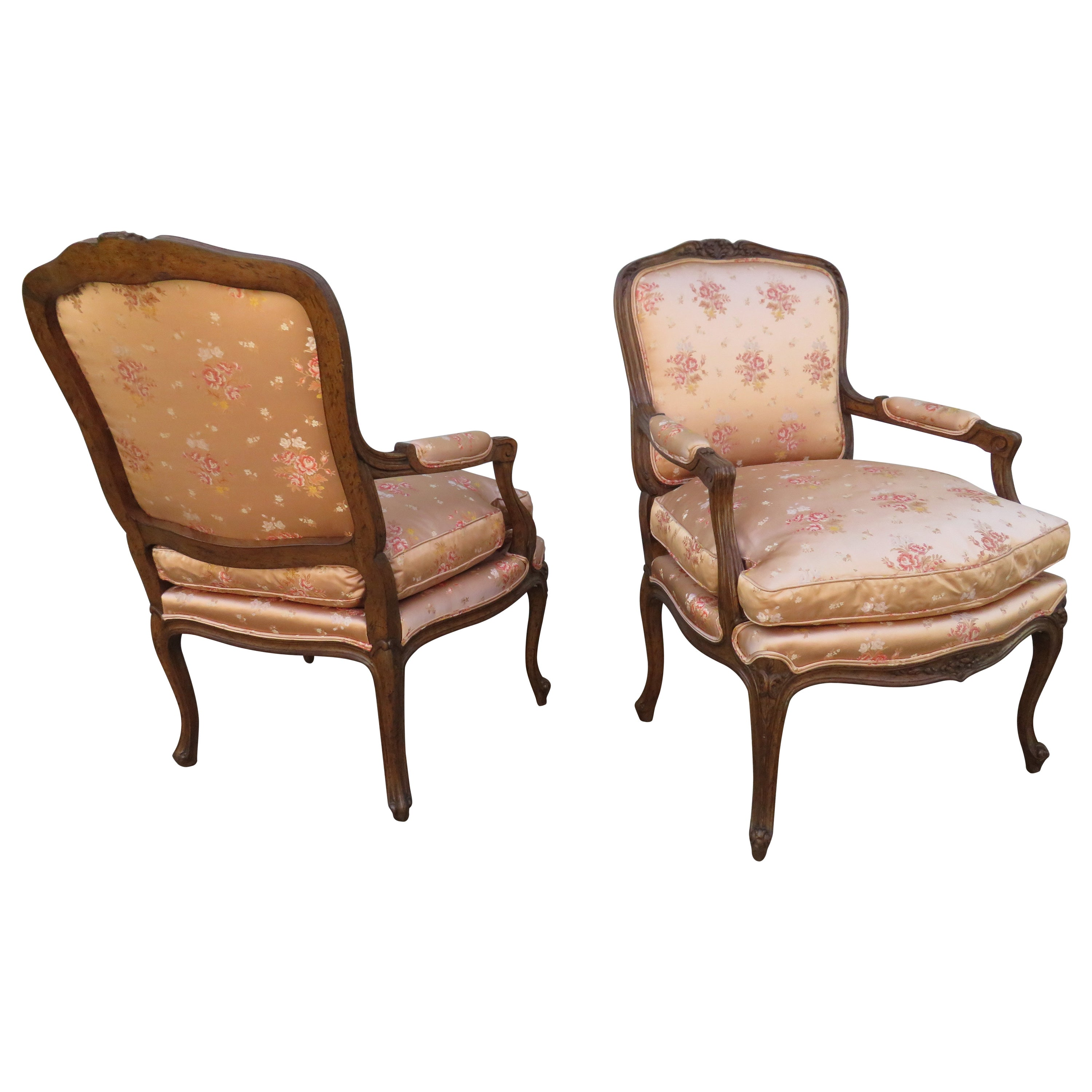 Lovely Pair of 20th Century French Louis XV Bergère Chairs