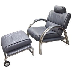 Lounge Chair and Ottoman in Grey Leather Signed Made in Italy, circa 1970