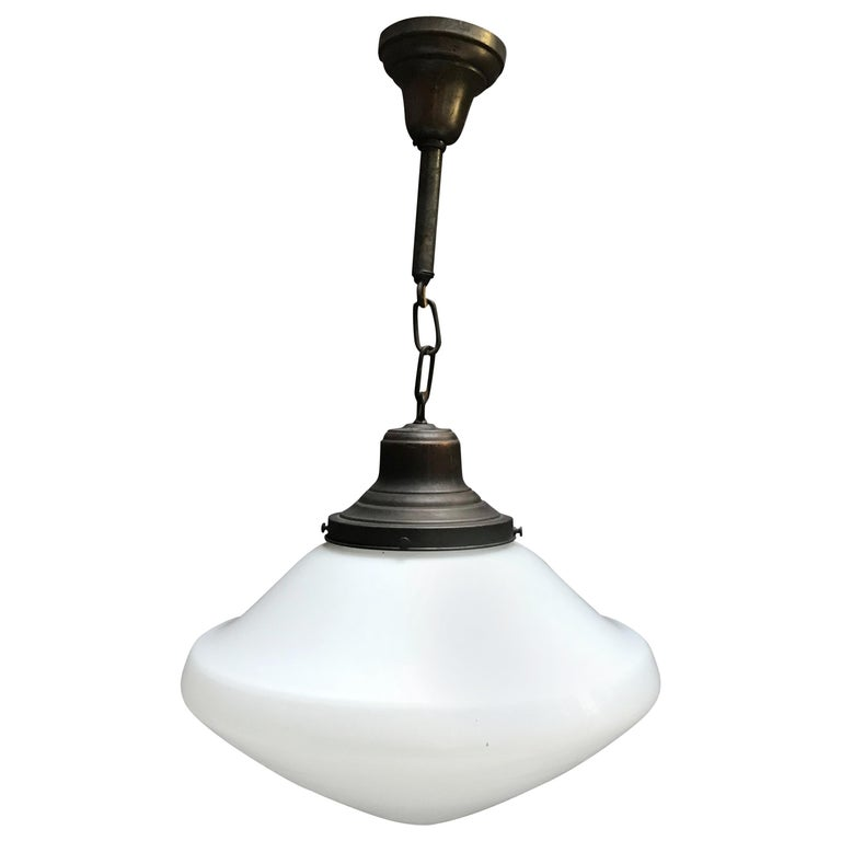 Industrial Milk Glass and Brass Pharmacy Pendant Light