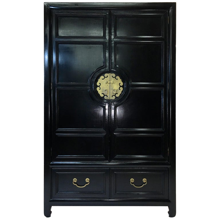 Hollywood Regency Asian Modern Motif Tallboy Chest by Century Furniture For Sale