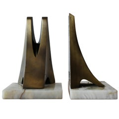 Modernist Metal and Onyx Bookends by William Macowski, 1970s