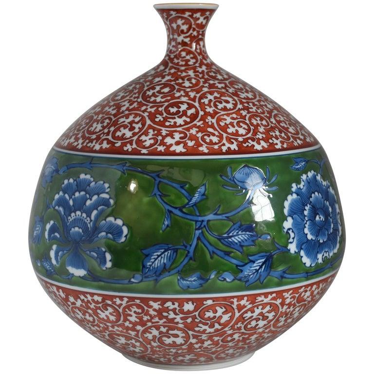 Contemporary Japanese Imari Red Blue Porcelain Vase by Master Artist