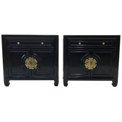 Hollywood Regency Asian Modern Motif Pair of Nightstands by Century Furniture
