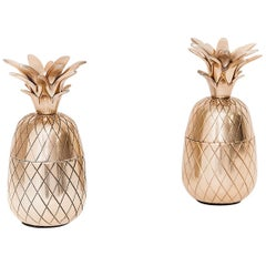 Ice Bucket Pineapple, in Brass, Silver Colored, from the 1970s, a Set of Two