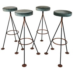 Set of Four Midcentury Tripod Bar Stools, 1960