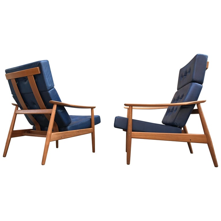 Arne Vodder a Pair of Fd164  Adjustable Lounge Chair France & Son, 1962