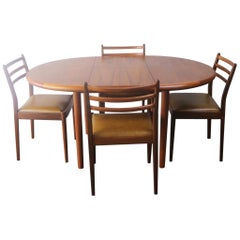 1970s Midcentury Danish Table and Four G Plan Dining Chairs