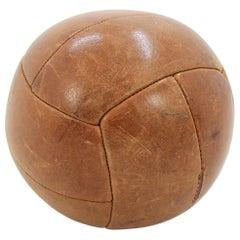 Vintage, Art Deco Leather Medicine Ball, 1940s