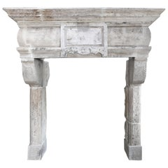 Antique Castle Fireplace of French Limestone, 18th Century, Louis XIII