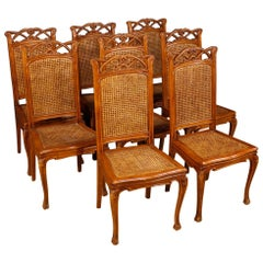 Eight French Chairs in Wood and Cane in Art Nouveau Style from 20th Century
