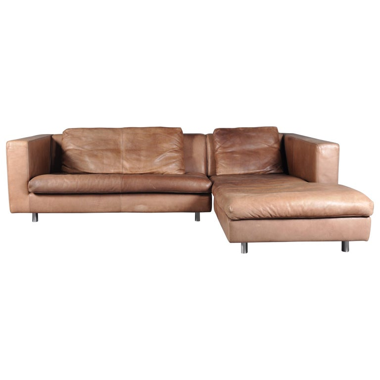 Cognac High Quality Leather Corner Sofa Chaise By Molinari Italy 1990s For