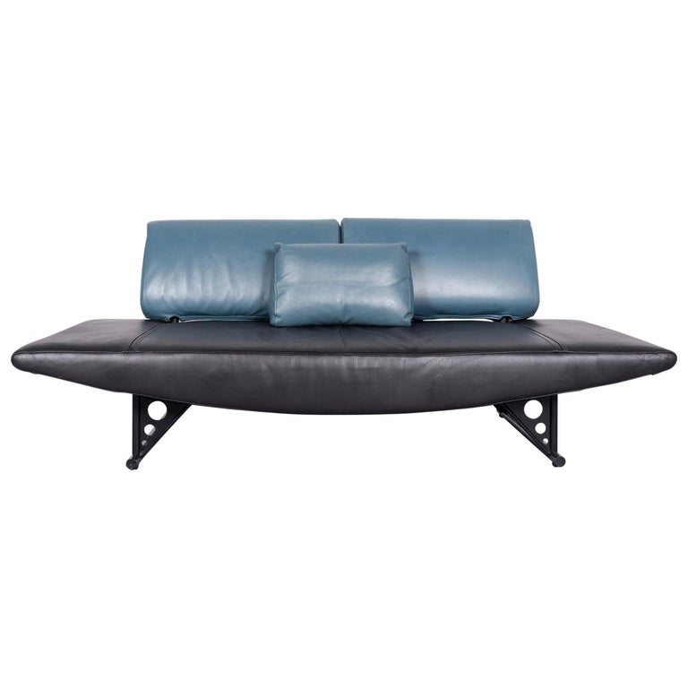COR Cirrus Designer Sofa Black Leather Function Modern Made in Germany
