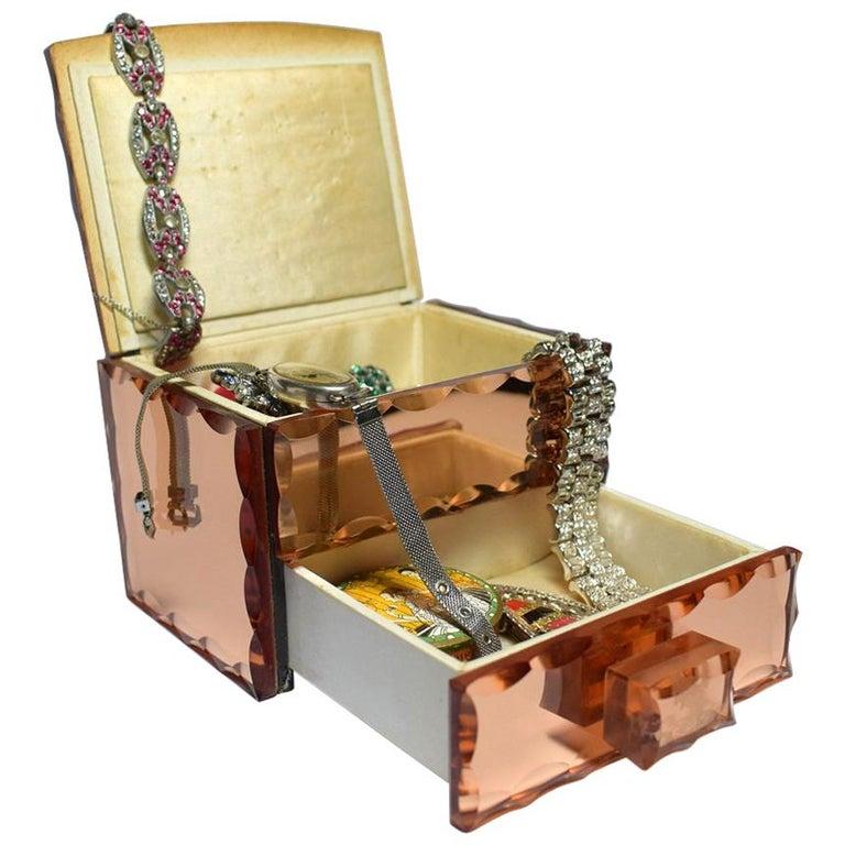 1930s Art Deco Mirrored Jewelry Box