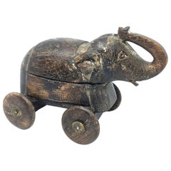 Handcrafted Thai Carved Wood Elephant, circa 1950s