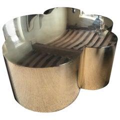 "Brass Coffee Table Model ""Cumulus"" by Edouard De La Marque"