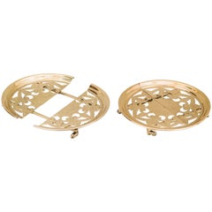 Two Beautiful Adjustable Art Deco Coaster with Small Wheels, circa 1930s