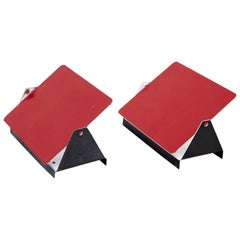 Set of Two Red CP-1 Wall Lights by Charlotte Perriand