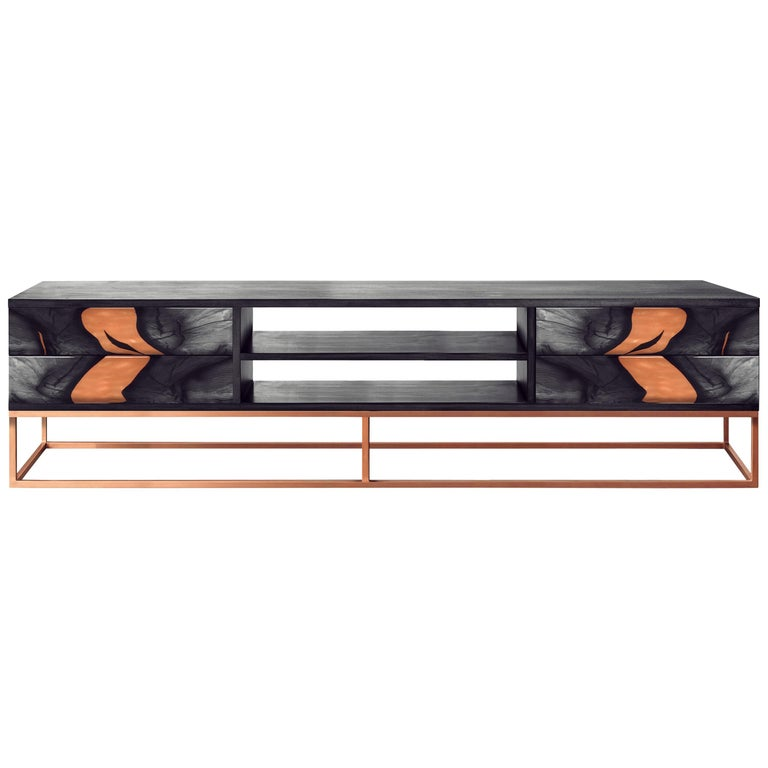 Contemporary Oxara Handmade Sideboard or Credenza in Brass and Copper