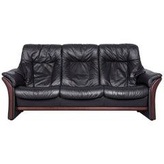 Ekornes Stressless Relax Sofa Black Leather Recliner Three-Seat