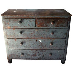 Decorative Teal Painted Pine Chest of Drawers, circa 1900-1915