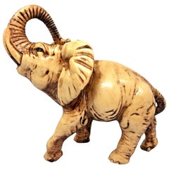 Hand-Carved Elephant Soapstone Sculpture Mid-Century Modern, 1970s
